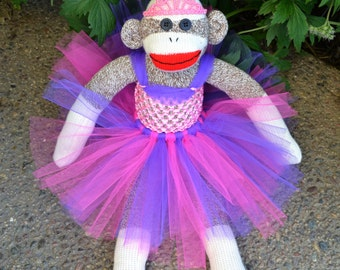 Ballerina Sock Monkey Doll with Tiara, Choose your Color Sock Monkey, Pink and Purple Tutu
