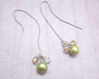 Green & Yellow Dangles -- Green Pearl Dangle Earrings -- Dainty Green Earrings -- Sterling Thread Earrings -- Silver Ear Thread Earrings