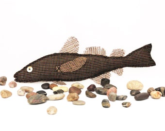Folk Art Fish - Lake House/Beach Decor - Fisherman's Gift - Rustic Country Cabin Decor - Soft Sculpture Fish Art Doll - Unique Decor - TWEED