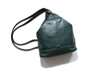 Vintage Leather Backpack / Green Leather Backpack / Leather Knapsack