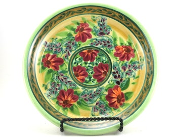 Yellow Dinnerware - Handmade Floral Ceramic Plate - Pottery Dish for Kunch or Dinner - Red Flowers and Bright Green Trim