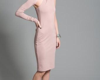 Cocktail Dress / One Shoulder Dress / Unique Party Dress / Midi Length Dress / Party Dress / marcellamoda - MD003