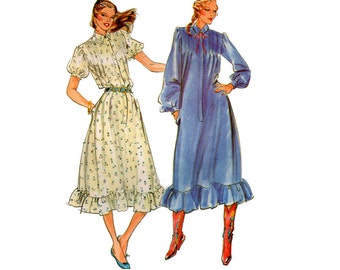 Butterick 6974 Ruffled Shirtdress 80s Vintage Sewing Pattern Size 12 Bust 34 inches UNCUT Factory Folded