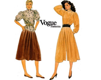 Vogue 8390 Womens Side Buttoned Top Skirt & Culottes 80s Vintage Sewing Pattern Size 8 Bust 31 1/2 inches
