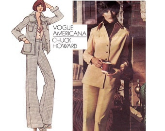 70s CHUCK HOWARD Jacket & Pants Pattern Vogue Americana 2892 Vintage Sewing Pattern Size 12 Bust 34 inches UNCUT