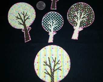 5 Pc Retro Peace Recycle Love Trees No Sew Iron On Appliques Cotton Patches