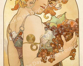 "Mucha, Vintage Reproduction Advertising Poster ""Fruit"" by Alphonse Mucha c1897"