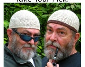 Mens Cotton Cooling Cap™ Crocheted in Oatmeal + Optional Chocolate Band