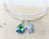 Sterling Sea Turtle Charm Bracelet, Adjustable Bangle Bracelet, Swarovski Ocean Green Blue Crystal Charm, Silver Jewelry, Beach Bracelet