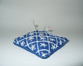 Hand Made Embroidered Pin Cushion, Flowers with French Knot Centers in Quilted Pattern, Pin-Pillows