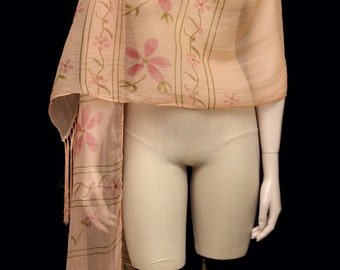 Vintage Scarf Wrap Peach and Pink Floral Long Fringe