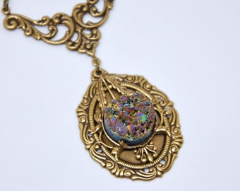 Rainbow Druzy Necklace, Antique Brass Druzy Necklace, Victorian Style Necklace, Filigree Art Necklace, Colorful Necklace, Druzy Jewelry Gift