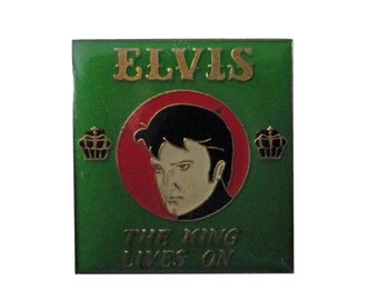ELVIS PRESLEY The King Lives On vintage enamel pin button lapel