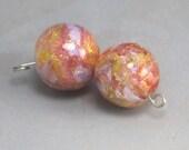 Rose tinted Peaches Lampwork Dichroic Bead Pair