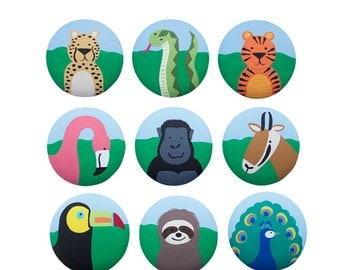 Hand Painted Knob - Children's Custom Hand Painted Jungle Safari Critters Zoo Animal Drawer Knobs Pulls or Nail Covers for Kids