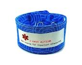 Adult Medical Alert Bracelet Autism Awareness Adult ID Bracelet Autism Alert Fabric Bracelet