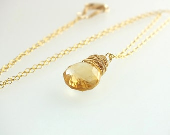 Citrine Necklace, November Birthstone, November Birthday, Gold Citrine, November Birthstone, November Birthday, Citrine Jewelry, Eco Fashion