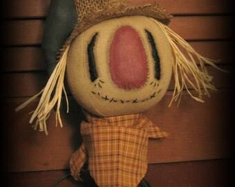 Primitive Autumn Scarecrow w/Crow on Rusty Spring