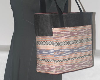 Deluxe Tote, Black Denim with Tribal Print Exterior / Tote / Handbag / Purse