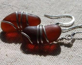 Genuine Sea Glass Earrings - Vintage Mocha Sea Glass Earrings