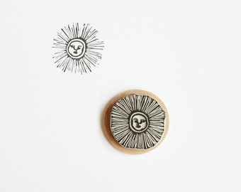 Sun Face - Hand Carved Rubber Stamp