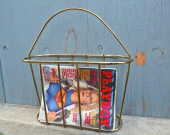 Vintage Brass Magazine Rack - Mid Century - Hollywood Regency - MCM - 1960s