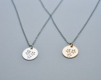 Tennessee Tri Star Necklace - your choice of sterling silver disc or gold filled disc state necklace three stars hand stamped handmade gift