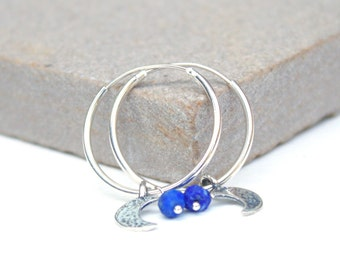 Silver Moon and lapis hoops, silver hoop earrings, charm earrings, dainty jewellery, delicate earrings, crescent charm