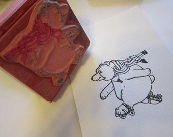 vintage rubber stamp - ROLLER SKATING BEAR - bear on roller skates