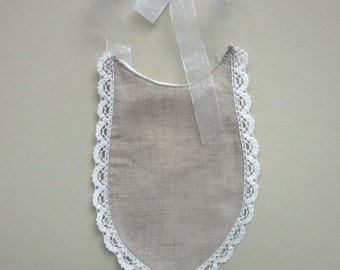 LINEN BIB Lace Trim Baptism Babys First Christening Formal Neutral Old Fashioned Baby Boy Girl Gift