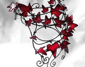 Black vine half face mask with red leaves. Womens costume,halloween, accessories, handmade, mardi gras