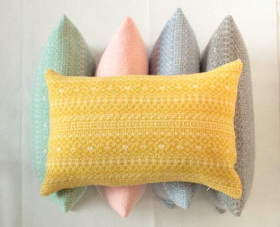 Pastel Rectangle cushion Knitted Fair Isle by SuzieLeeKnitwear