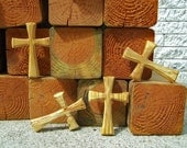 RESERVED for A.W. - Three + Bonus Traditional Wood Cross Pendants with Black Leather Cordings