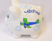 Vintage Airplanes in Blue and Green Personalized Piggy Bank