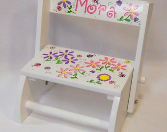 Child's Flip Stool with Bright Daisies, Ladybugs and Butterflies