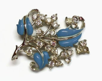 Rhinestone & Enamel Leaf Brooch in Cornflower Blue and Clear Crystal Clusters Pave Set in Silver - Vintage 50's Figural Costume Jewelry