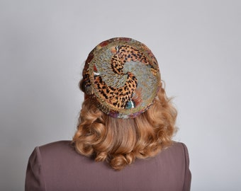 Vintage 1950s Pheasant Feather Hat - Ruth Henriette - Fall Fashions