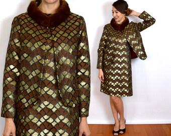 60s Gold Shift Dress   Metallic Gold Party Dress & Fur Collar Jacket   Brown Gold Brocade Shift Dress   Short Jacket,  Medium