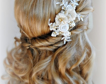 Ivory and Gold Flower Hair Clip, Bridal Fascinator with Crystals and Pearls - HARPER
