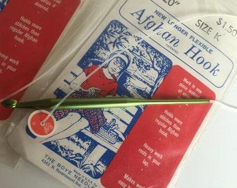 """3 BOYE Afghan Hook new longer flexible. sizes I J K. 20"""" Blanket/lap Made in USA"""