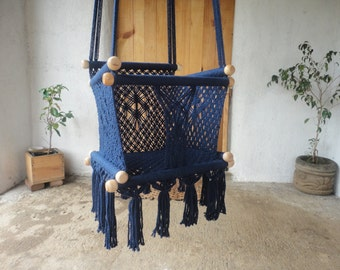 BABY SWING/CHAIR- Kids-100% Cottom Thread in Navy Blue Color- Custom Colors and Sizes available! Ships from Nicaragua