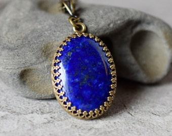 Bezel Lapis Necklace Lapis Lazuli Necklace Bohemian Navy Stone Pendant Grade A Dark Blue Antique Brass Drop Necklace Gemstone Cabochon Gift