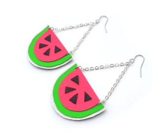 Watermelon Earrings, Hot Pink Earrings, Neon Fruit Earrings, Pop Art Jewelry, Leather Earrings, Watermelon Jewelry, Statement Earrings