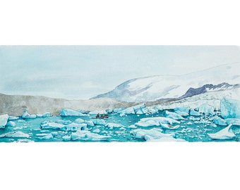 On Glacier Lagoon - Jokulsarlon, Iceland - Fine Art Print, Giclee, Watercolor Illustration