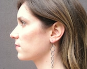 River stone long dangle earrings in Oxidized silver - hand formed links