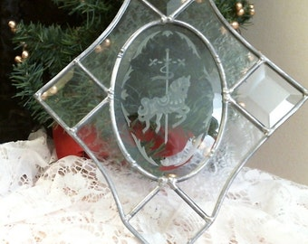 stained glass clear beveled Carousel Horse Panel Suncatcher