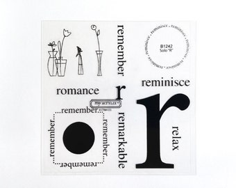 CTMH B1242 Solo R Close To My Heart Letter R Stamp Remember Romance Flower Acrylic Stamps Clear Stamp Set Retired Unmounted Stamps USED