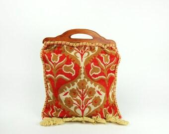 Vintage Carpet Bag with Wooden Handles || Lined!