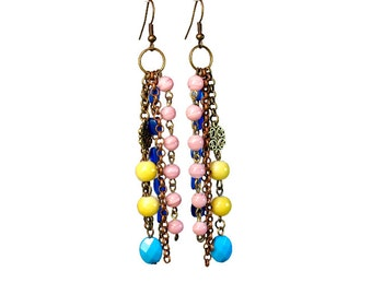 Colorful Bohemian Earrings, Boho Dangle Earrings, Gypsy, Beaded, Repurposed Upcycled Jewelry
