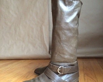 WEEKEND SALE! 1990's 90's Joan & David pull on boots / slouch boot / belted detail / apocalyptic / Mad Max esque